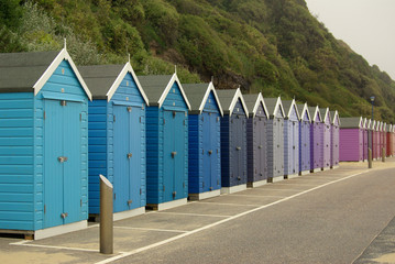 Beach huts on the beach in Bournemouth, UK