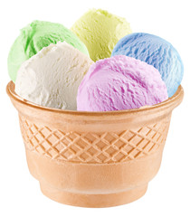 Colorful ice-creams in waffle cup.