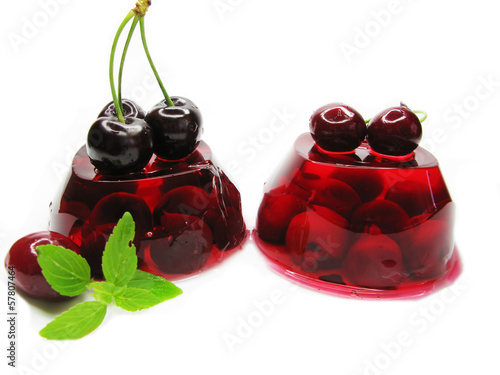 fruit jelly dessert with cherry