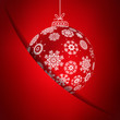 Red christmas card with snowflakes.   EPS10