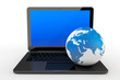 Laptop computer with Earth Globe