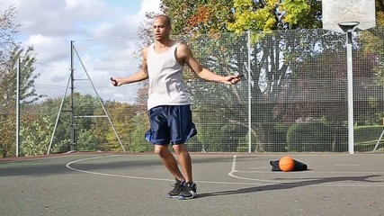 Static Shot of a Basketball Player Skipping