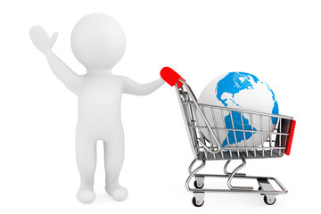 3d person with shopping cart and Earth Globe