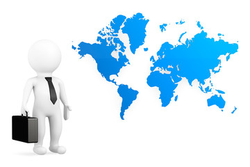 3d person businessman with world map