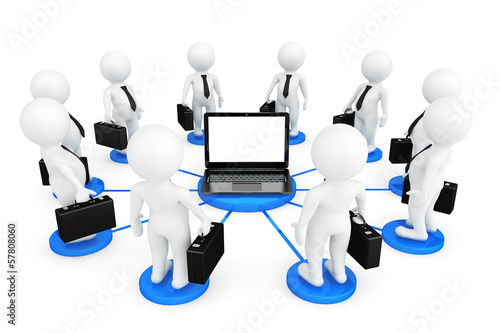 3d person businessmans around Laptop