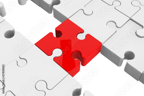 Red puzzle as a bridge with a white parts