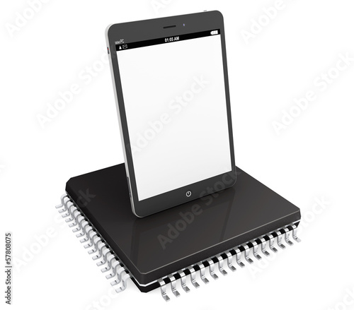 New Technology Concept. Tablet PC over micro chip