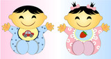 Twin asian Baby Boy And Girl.Vector illustration Two children