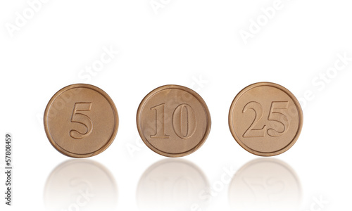 plastic coins toy isolated on white background