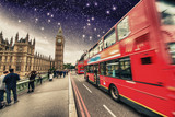 Iconic Red Double Decker Bus speeding up in Westminster Bridge a
