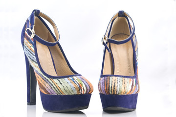 velvet high-heel with stripes and & ankle strap