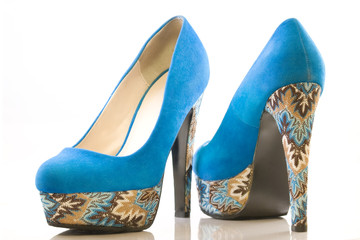 blue high heel shoes - back & front view