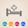 vector icons with bed and cross. hospital sign