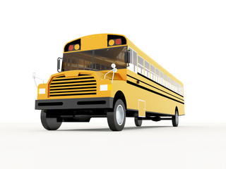 Yellow school bus rendered isolated on white