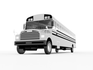 School bus black and white isolated