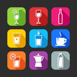 flat icons for web and mobile applications with beverages