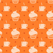 seamless background with cupcakes and coffee cups