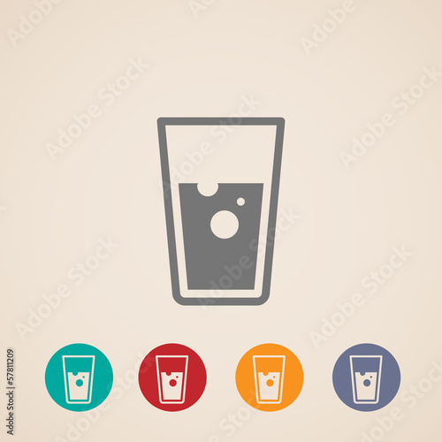 vector glass of water icons