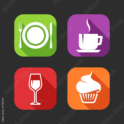 flat icons for web and mobile applications with meal signs