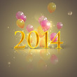 happy new 2014 year. holiday background with flying balloons