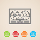 vector reel tape recorder icons