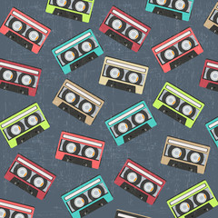 seamless background with vintage analogue music recordable casse