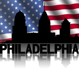 Philadelphia skyline text reflected American flag illustration
