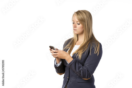 Blond Girl looking cellphone