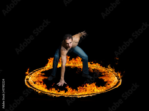 Blazing flames on black background