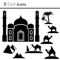 Set of icons - camels, mosque, pyramids (vector)