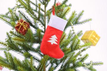 Christmas sock with gifts border frame