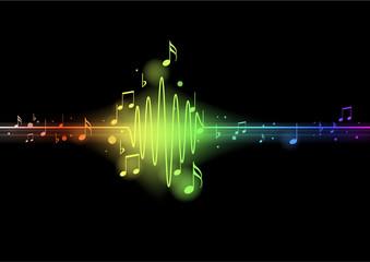 Onde sinusoïde musicale - arc en ciel