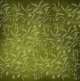 Pattern olive branch on vintage paper.