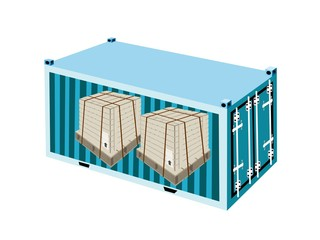 Shipping Boxes with Steel Strapping in Cargo Container