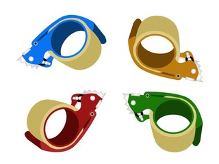 Four Colors of Adhesive Tape Dispenser on White Background