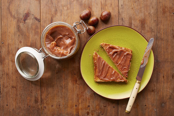 Chestnut cream on a toast