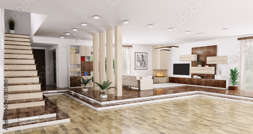 Interior of apartment panorama 3d render