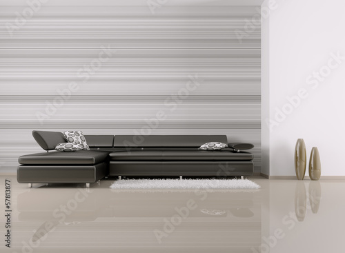 Interior of room with sofa 3d render