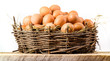 Chicken eggs in big nest isolated. Organic food - 57814254