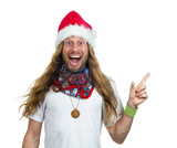 Silly happy hippie man in Santa hat pointing at copy-space isola