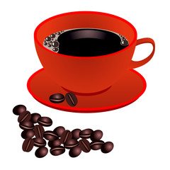Red cup of coffee with beans