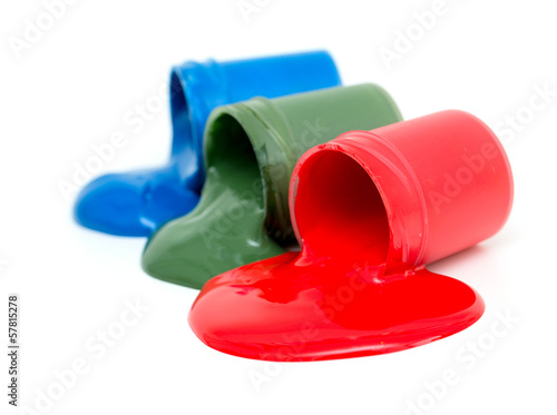 rgb jars of gouache isolated on white background