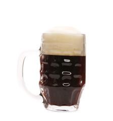 Tall big mug of beer with foam.