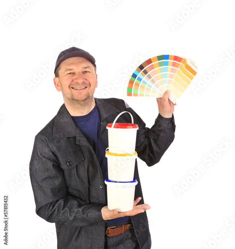 Man with color samples for paint.