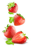 Falling strawberries. Isolated on a white background.
