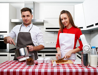 Couple at kitchen
