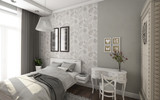 Fototapety Bright Bedroom In Grey And White Colors