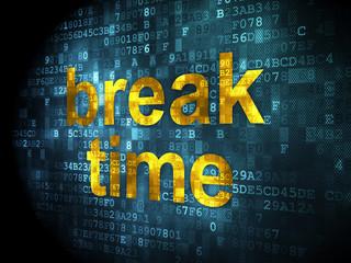 Timeline concept: Break Time on digital background