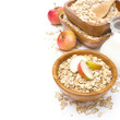 healthy breakfast - oat flakes with apples and milk, isolated