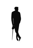 stylish man with umbrella in silhouette